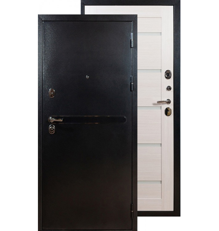 Входная дверь Лекс Титан серебро 7Х (Беленый дуб)