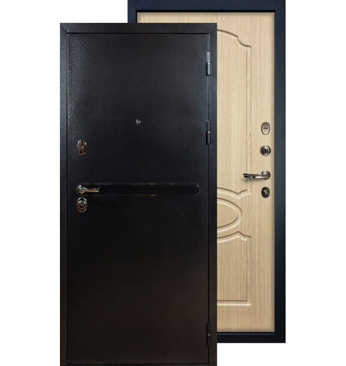 Входная дверь Лекс Титан серебро ФЛ-14 (Беленый дуб)