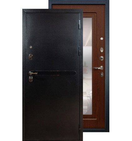 Входная дверь Лекс Титан серебро с зеркалом (Береза мореная)