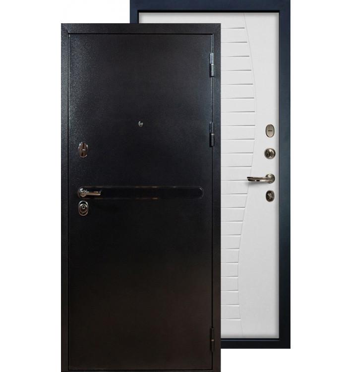 Входная дверь Лекс Титан серебро Волна (Белый ясень)