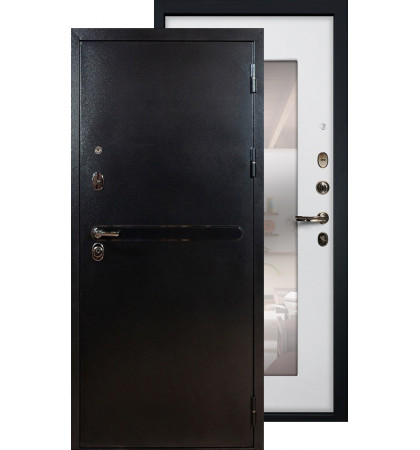 Входная дверь Лекс Титан серебро с зеркалом (Белый ясень)