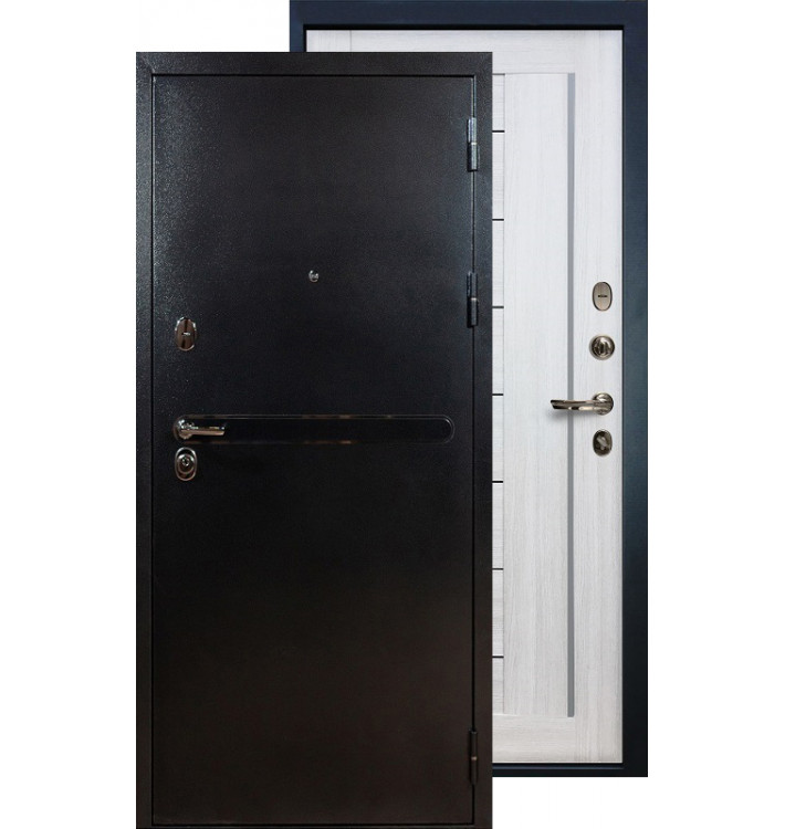Входная дверь Лекс Титан серебро Верджиния (Беленый дуб)