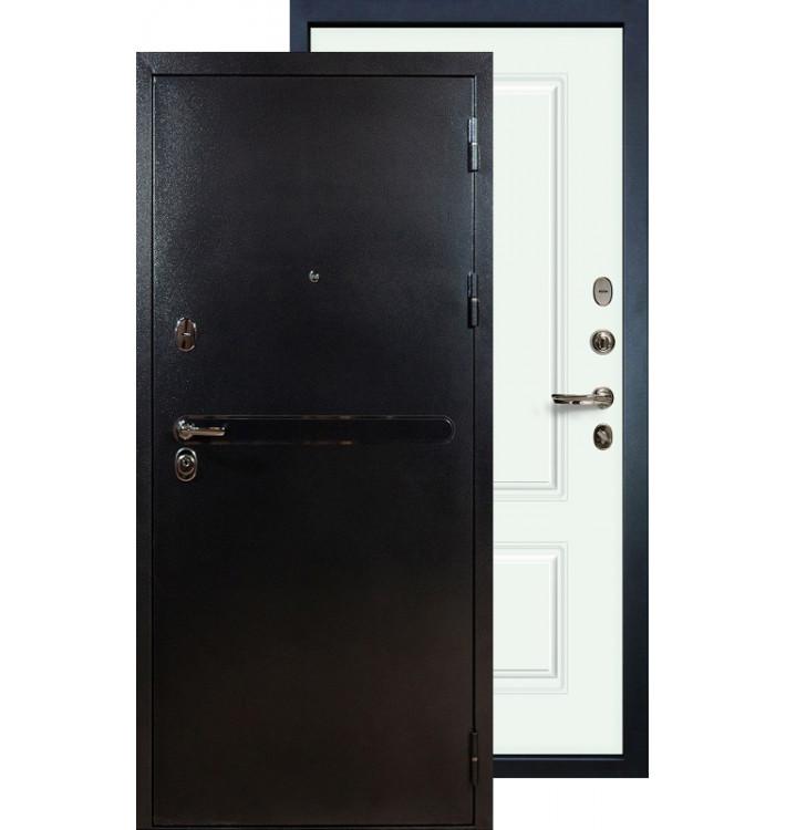 Входная дверь Лекс Титан серебро Вероника (Белая эмаль)