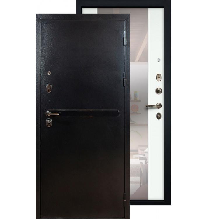 Входная дверь Лекс Титан серебро с большим зеркалом (Белый ясень)