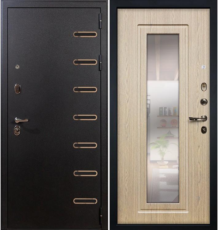 Входная дверь Витязь / с зеркалом Беленый дуб (панель №23)