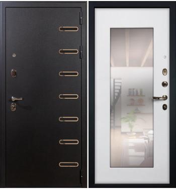 Входная дверь Витязь / с зеркалом Белый ясень (панель №37)